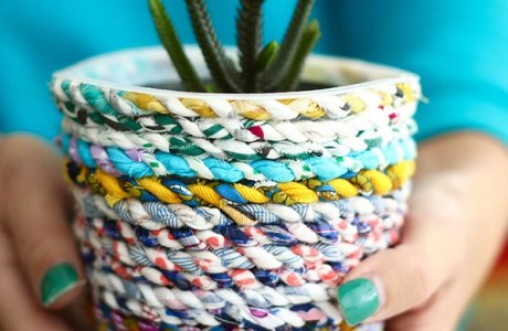 Tutorial: Scrap fabric twine planter