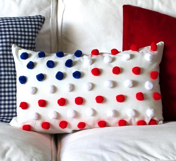 Tutorial No Sew Pom Pom Flag Pillow Sewing