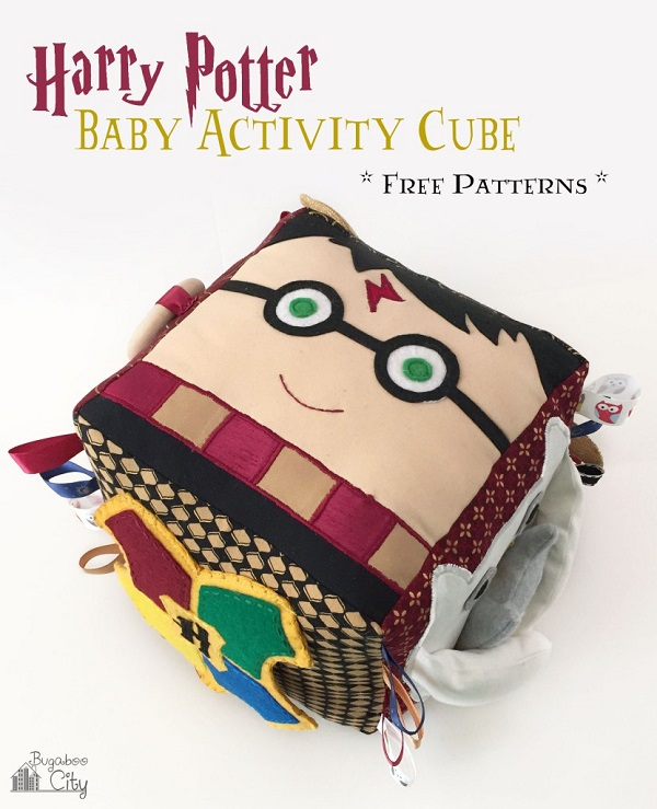 Free pattern: Harry Potter sensory activity cube for baby
