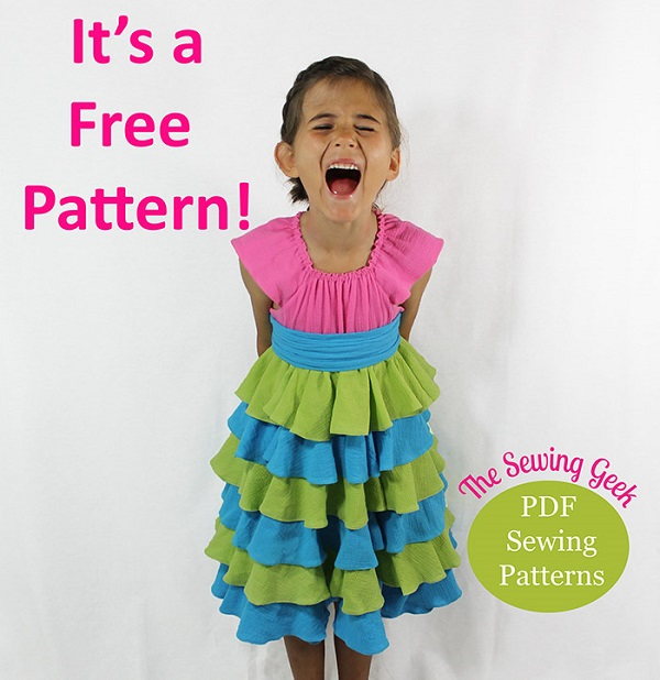 Free pattern: Little girl's ruffled peasant dress