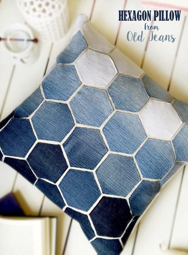 Tutorial: Recycled denim hexagon pillow