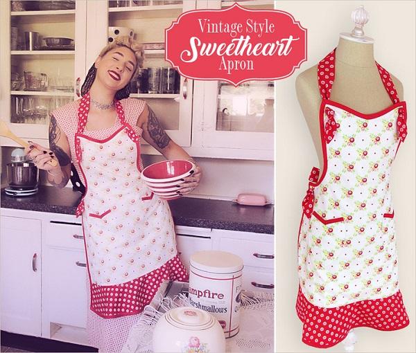 Tutorial: Vintage style sweetheart apron