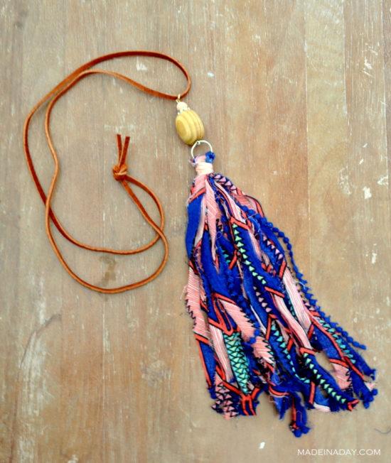 Tutorial: Fabric tassel necklaces