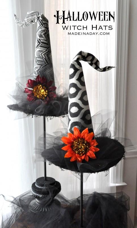 Tutorial: Halloween witch hat topiaries