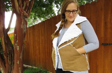 Tutorial: Faux shearling vest from old jeans
