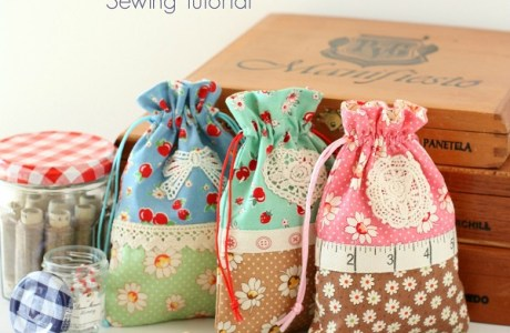 Tutorial: Sweet retro drawstring bags
