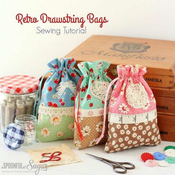 Tutorial: Sweet retro drawstring bags