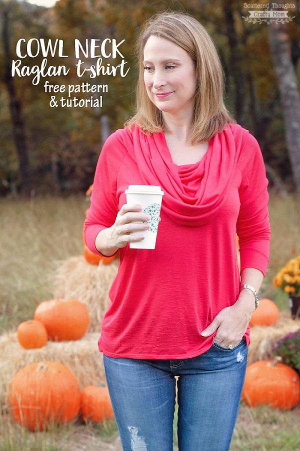 Free pattern: Cowl neck raglan t-shirt