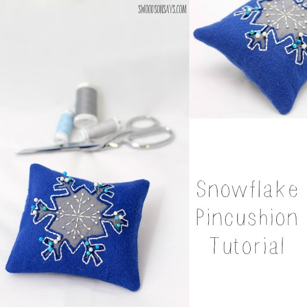 Tutorial: Reverse applique snowflake pincushion