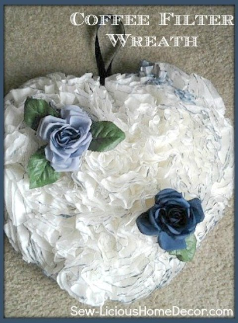 how to make a blue coffee filter wreath Coffee Filter Wreath Tutorial