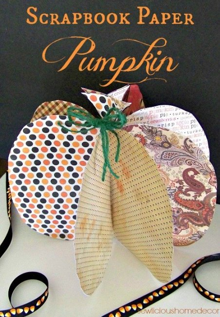 Scrapbook Paper Pumpkin Halloween 452x650 Scrapbook Paper Pumpkin Tutorial