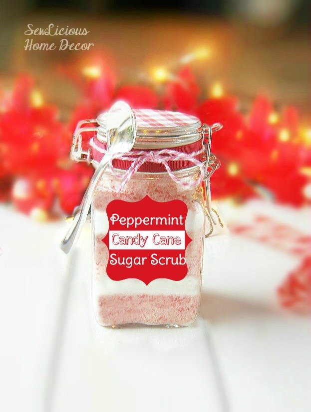 Peppermint Candy Cane Sugar Scrub with Labels