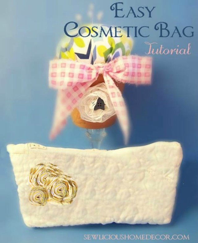 Easy Cosmetic Bag Tutorial at sewlicioushomedecor.com  Easter Egg Zipper Pouch with Key Holder Tutorial