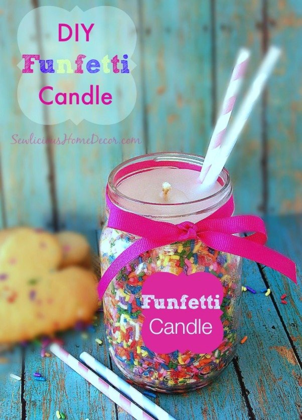 DIY Funfetti Candle Tutorial at sewlicioushomedecor.com