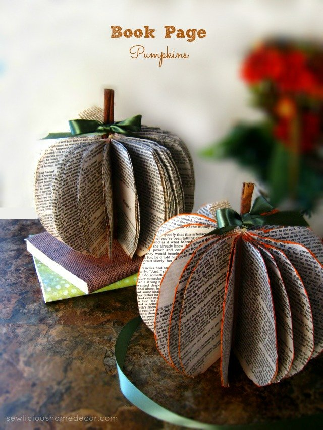 Book Page Pumpkins at sewlicioushomedecor.com  DIY Book Page Pumpkins
