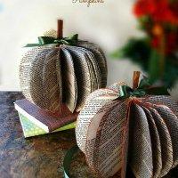 DIY Book-Page-Pumpkins-at-sewlicioushomedecor.com