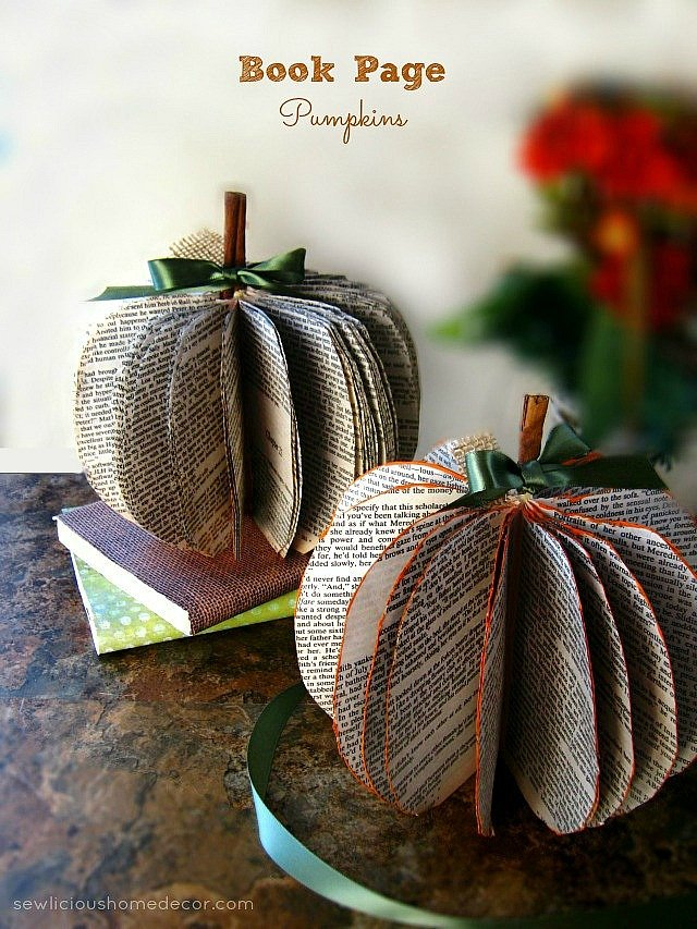 DIY Book-Page-Pumpkins-at-sewlicioushomedecor.com