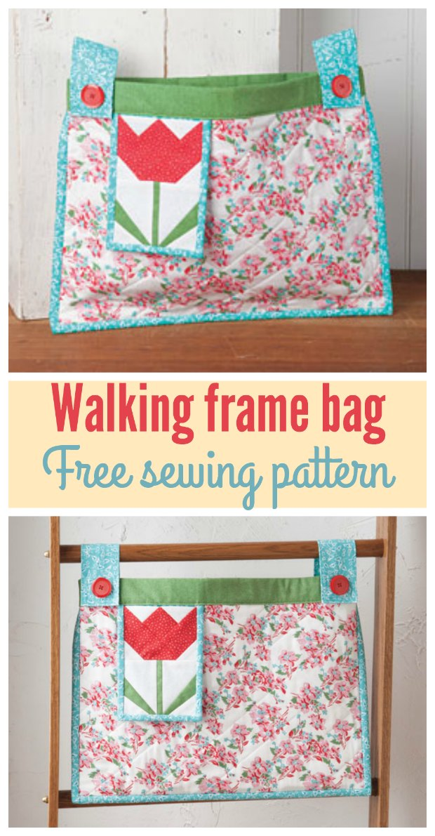 Walker tote bag. Free sewing pattern for this bag to attach to a walking frame. I made one for my aunt and she said it was the best present she had all year!