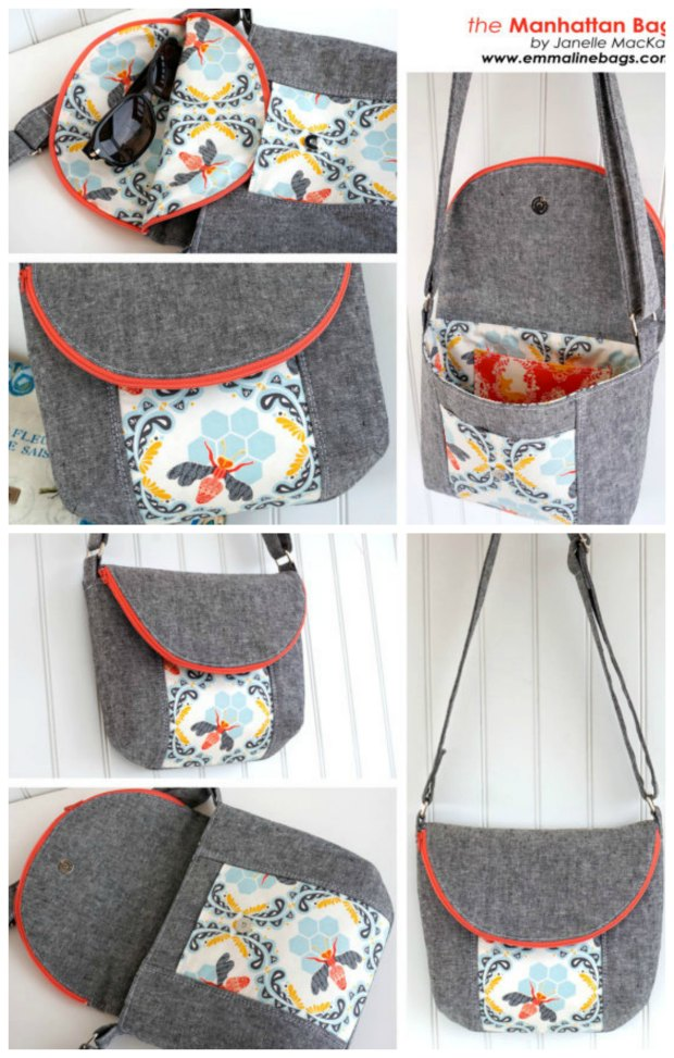 Love how the zipper goes right around the ege of the bag flap in this sewing pattern. Simple to sew bag, but stylish and with some really nice features. One of my favorite patterns, and very well written.