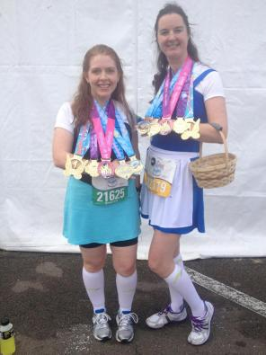 2014 Disney Princess Half Marathon - Belle & Ariel in their town dresses