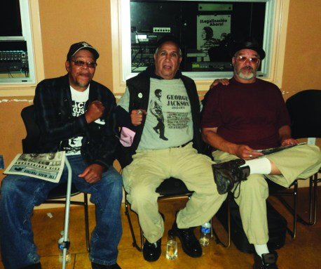 At George Jackson Day Aug. 21 were Willie Sundiata Tate, Luis Bato Talamantez and David Giappa Johnson of the San Quentin Six, veterans of the struggle, honoring the hunger strike heroes of today along with the heroes of the past.