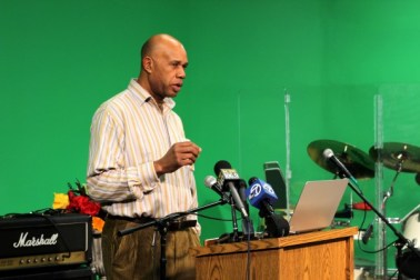 William Hammons, exec dir Overcomers With Hope, speaks on saving Marcus Garvey Bldg 121812 by Charles Berkowitz