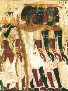 Tomb painting of Kushite princes, Sudan, threatened by dams