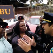 ABU protest Willie Brown Academy James Richards, SFPD Capt. Robert OGSullivan 082112 courtesy ABU, web