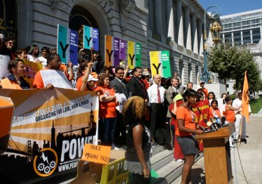 Free-Muni-for-youth rally 150 people City Hall steps 092011 by Bryan Goebel