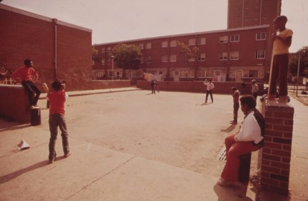 North Philly housing project play area 1973 by Dick Swanson