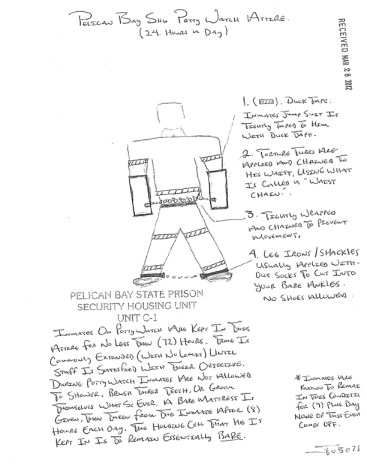 Pelican Bay SHU potty watch attire drawing by prisoner-1, web