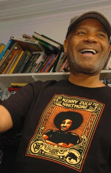 Emory Douglas models Zulu Whitmore T-shirt, thtc.co.uk