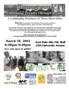 GÇÿHomegrownGÇÖ East Palo Alto youth film premiere 031813 flier