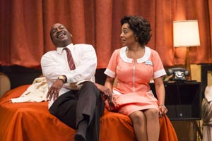 GÇÿThe MountaintopGÇÖ Adrian Roberts as MLK, Simone Missick as maid Camae at TheatreWorks Palo Alto 0313 by Mark Kitaoka