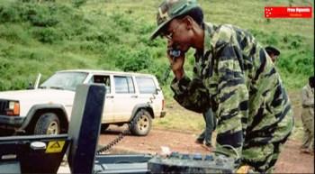 Gen. Kagame on satellite phone