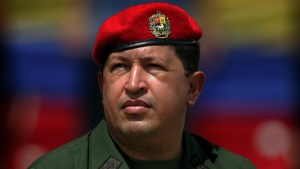 Hugo Chavez, beret, looking up, web