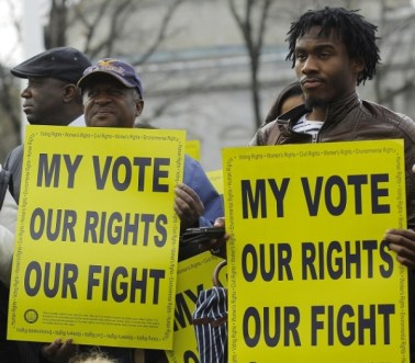 Voting rights activists at Supreme Court 022713 by Gary Cameron, Reuters