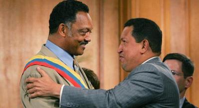 Jesse Jackson given sash by Hugo Chavez Miraflores Palace 082905 by AP