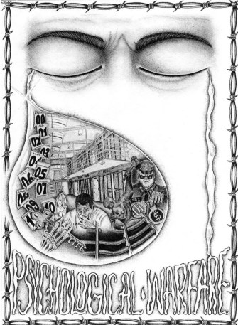 'Psychological Warfare' drawing by PBSP SHU prisoner