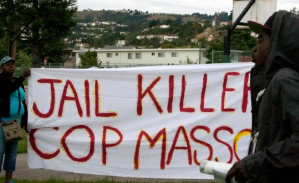 Alan Blueford 1st year memorial 'Jail killer cop Masso' banner 050513 by Malaika, web
