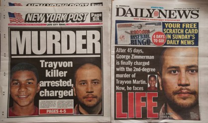 Trayvon Martin, Zimmerman murder charge headlines NY Post, Daily News 041212