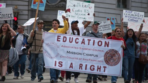 Save City College march from campuses to City Hall 0313 by Deborah Svoboda, KQED, web