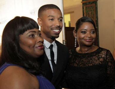 's mother, Michael B. Jordan, who plays Oscar, Octavia Spencer, who plays Wanda in 'Fruitvale Station' at screening 062013 by Carlos Avila Gonzalez, Chron