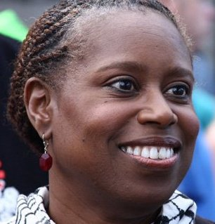 Cynthia McKinney close-up with keffiyeh