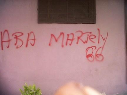 GÇÿAba MartelyGÇÖ (GÇÿDown with MartellyGÇÖ) graffiti Port au Prince, Haiti 093012