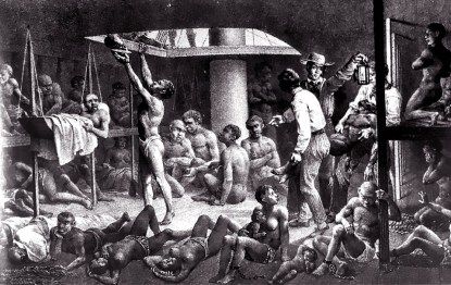 Enslaved Africans in hold of slave ship 1827, web