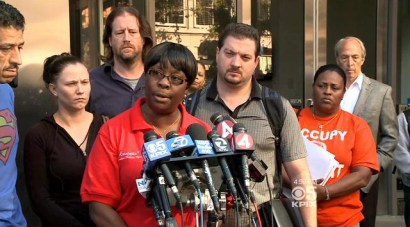 SEIU Negotiator Antoinette Bryant announces BART strike 101713 by CBS