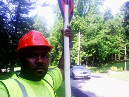 Lorenzo Johnson in hard hat