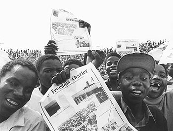 Youths at Freedom Charter demonstration Soweto 1986 by Paul Weinberg
