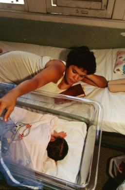 Mother, newborn baby in Maternity Hospital, Havana, Cuba